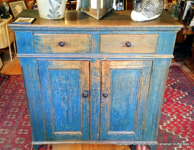 french canadian blue paint buffet bas french settlement. Black Bedroom Furniture Sets. Home Design Ideas