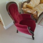 1850s Rococo Revival Chair one of a pair of chairs from historic Bell Cottage in Stratford, Ontario